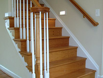 Open Staircase & Treads - Oak Treads & Risers with Painted Ballusters and Painted Stringers